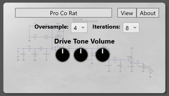 ProCo Rat distortion pedal in VST plugin.