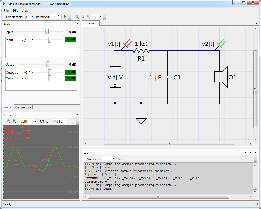 Simulating the RC low-pass filter.